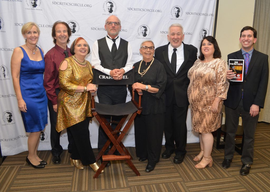 Members of the San Diego Theatre Critics Circle, from left Pam Kragen, David Coddon, Pat Launer, James Hebert, Carol Davis, Bill Eadie, ErinMarie Reiter and David Dixon (not pictured: Jean Lowerison).